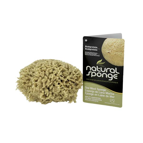 The Natural Brand - Wool Sea Sponge 4-5 Inch SW #1-4050C | Front w/ Label