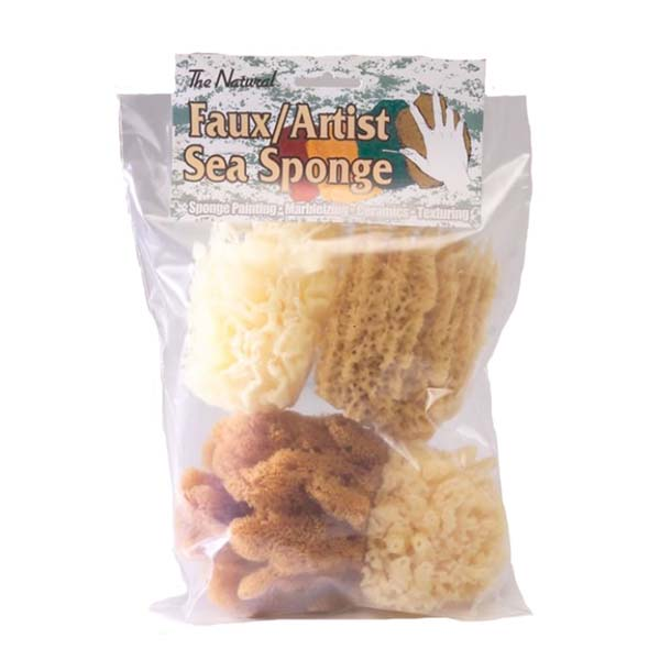 The Natural Faux Artist Sea Sponge 4-piece Mixed Pack_MP-4000