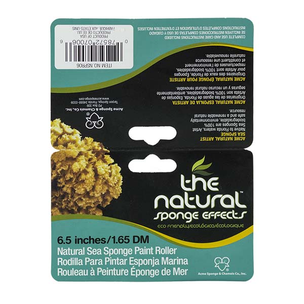 The Natural - Sponge Effects - Natural Sea Sponge Paint Roller 6.5 Inch Label Front