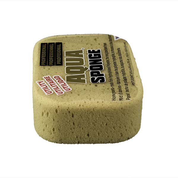 Aqua Sponge - AF2L | Professional Grade Utility Polyester Sponge - End Side w/pkg