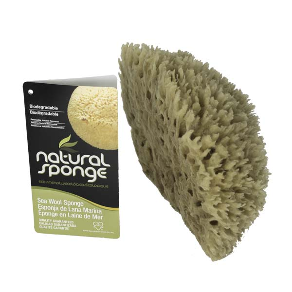 The Natural Brand - Wool Sea Sponge 6-7 Inch SW #1-7080C | Side with Label
